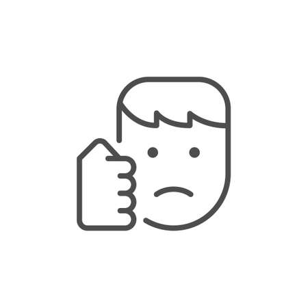 Punch in face line outline icon