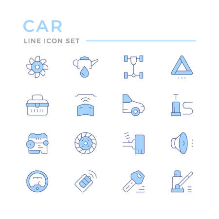 Set of car related color line icons