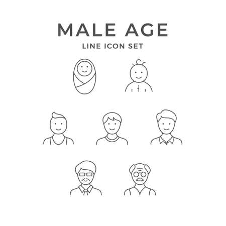 Set line icons of male age