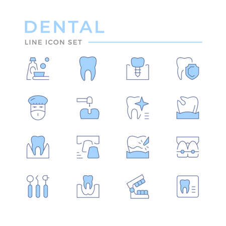 Set of dental related color line icons