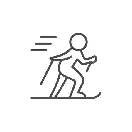 Skiing line outline icon and winter sport sign