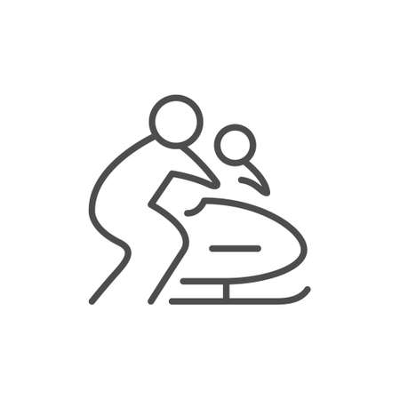 Bobsleigh or bobsled line outline icon