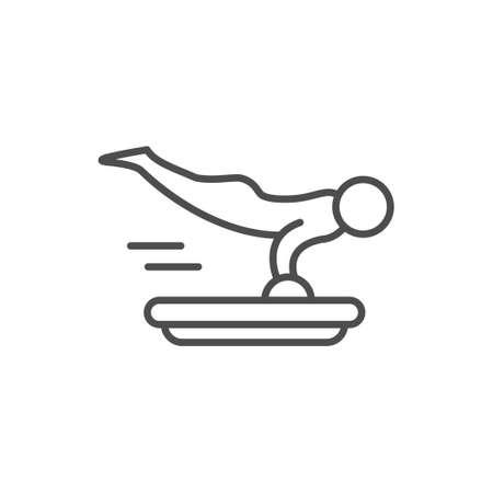 Skeleton line outline icon or luge sport Vektorgrafik