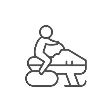 Snowmobiling line icon or winter sport sign Illustration