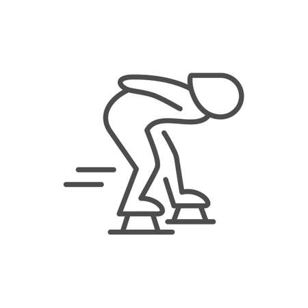 Speed skating line outline icon