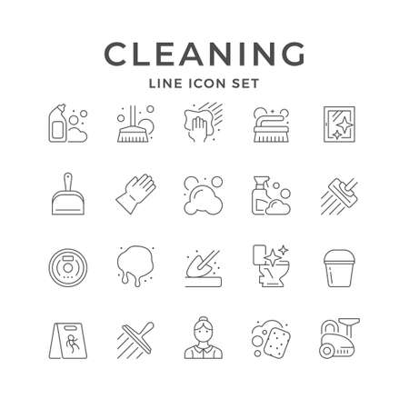 Set line icons of cleaning Standard-Bild - 155203792
