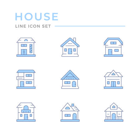 Set color line icons of houses Illustration