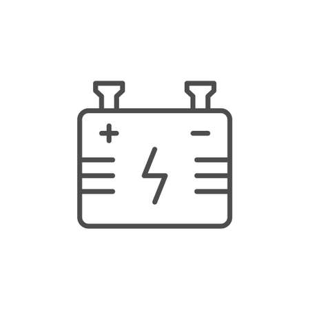 Battery line outline icon or energy sign