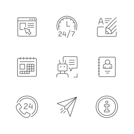 Set line icons of contact us Standard-Bild - 155520450