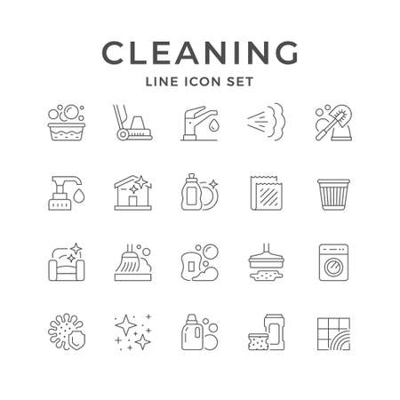 Set line icons of cleaning Standard-Bild - 155442815