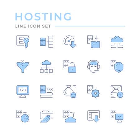 Set color line icons of hosting Standard-Bild - 155520452