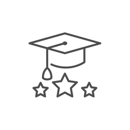 Graduation cap line outline icon