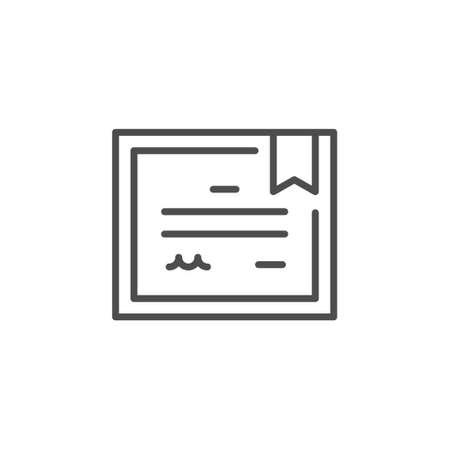 Certificate or diploma line outline icon Standard-Bild - 155564058