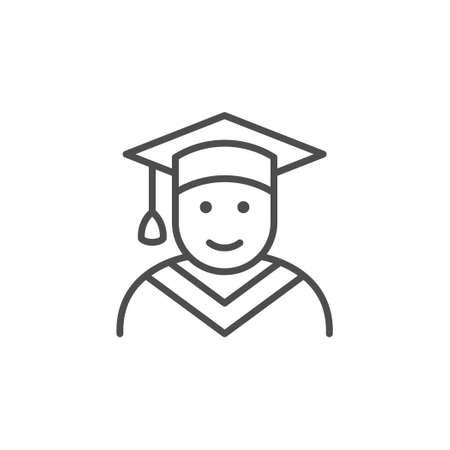 Graduate line outline icon or graduation sign Illustration