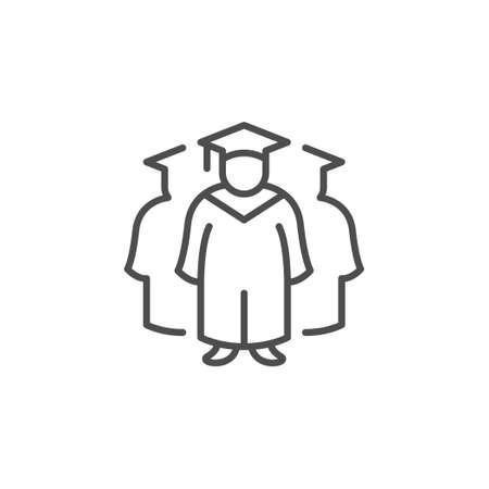 Graduates group line outline icon Standard-Bild - 155564060
