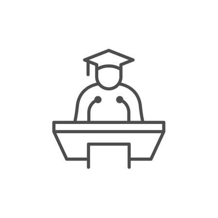Graduate at podium line outline icon