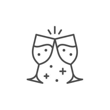 Clinking glasses line outline icon Illustration