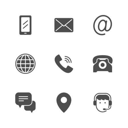 Set glyph icons of contact us Standard-Bild - 155866327