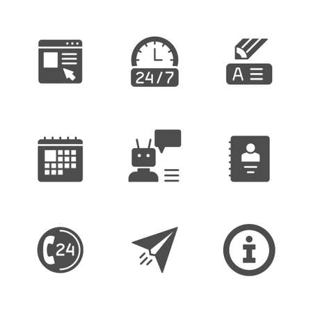 Set glyph icons of contact us