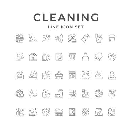 Set line icons of cleaning Standard-Bild - 155666095