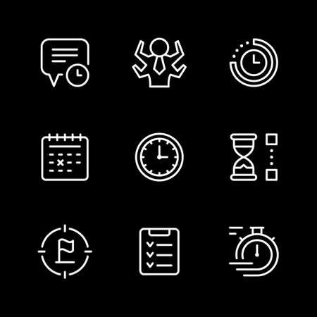 Set line icons of time management Illustration