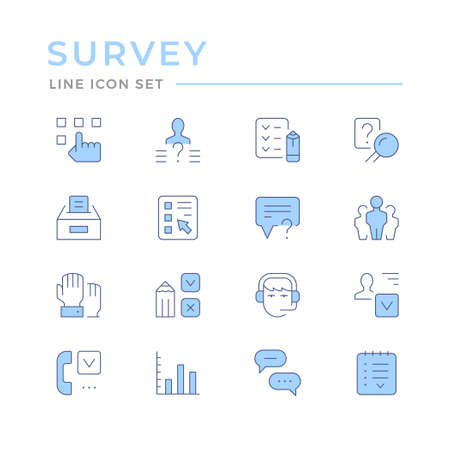 Set color line icons of survey Standard-Bild - 155666160