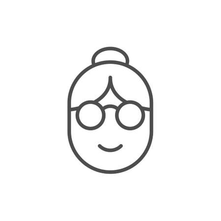 Old woman line outline icon