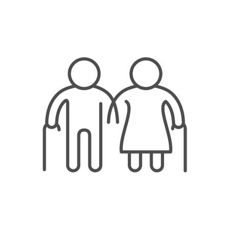 Old people line outline icon