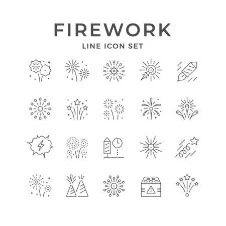 Set line icons of firework