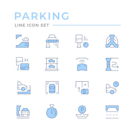 Set color line icons of parking Illustration