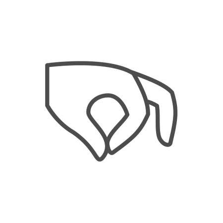 Holding gesture line outline icon Illustration
