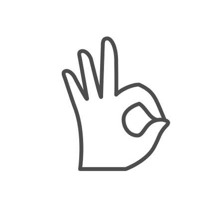 OK gesture line outline icon