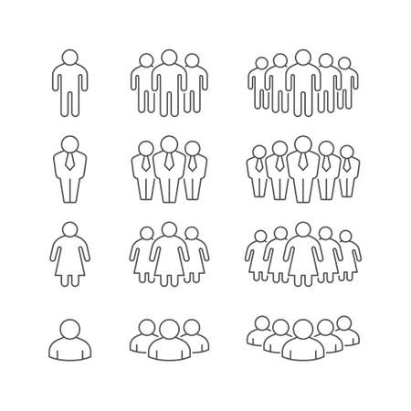 Set line outline icons of people group