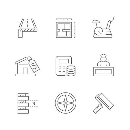 Set line icons of real estate