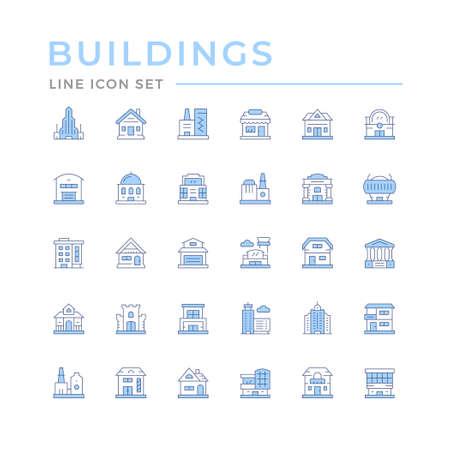 Set color line icons of buildings