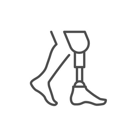Prosthetic leg line outline icon