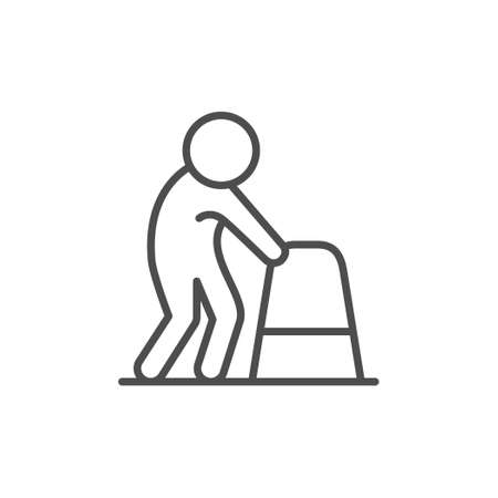Person with walking frame line icon