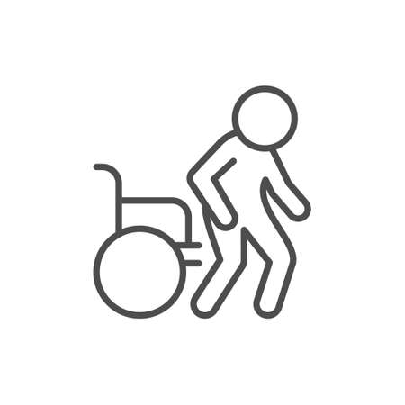 Disabled person line outline icon