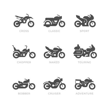 Set glyph icons of motorcycle