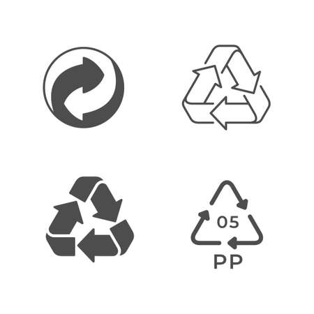 Set icons of recycling or reuse