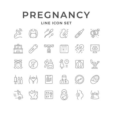 Set line icons of pregnancy Illustration