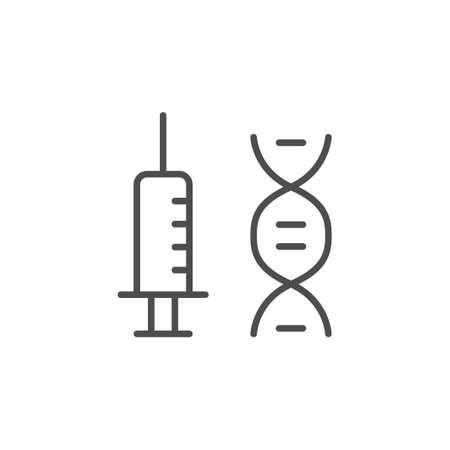 Vaccine or syringe line outline icon Illustration