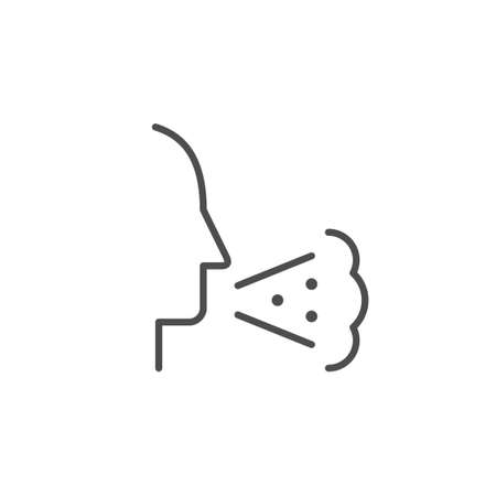 Cough line outline icon or flu concept