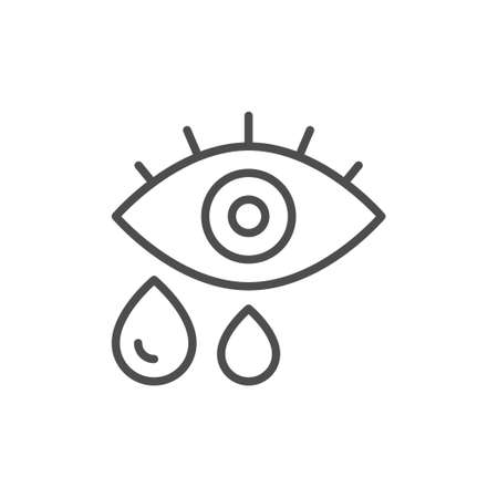 Eye and tears line outline icon