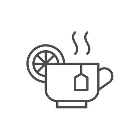 Hot tea line outline icon