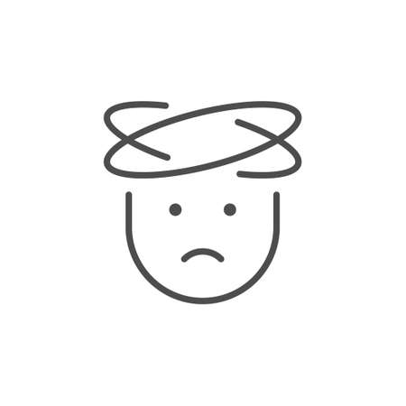 Headache line icon or flu concept Illustration