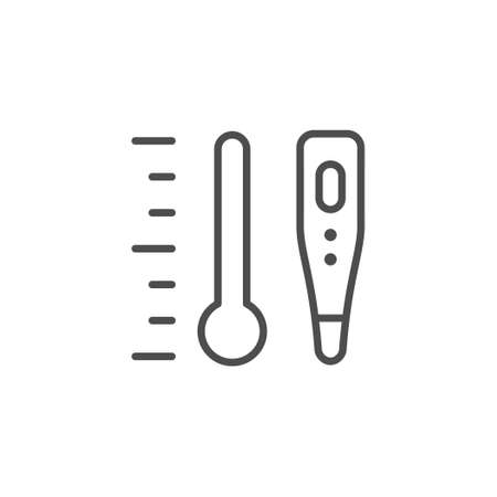 Temperature and thermometer line outline icon Illustration
