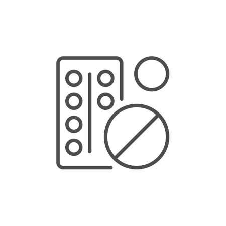 Pills or drug line outline icon