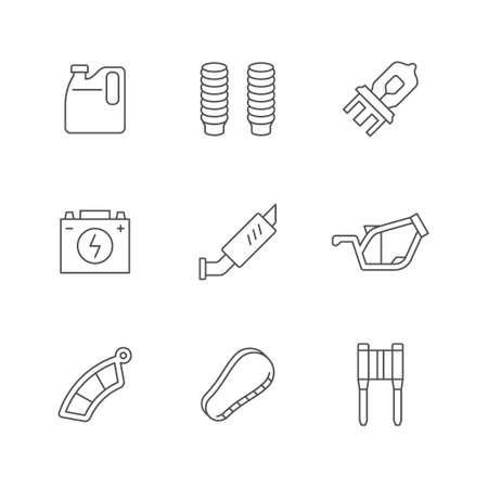 Set line icons of motorcycle parts Illusztráció