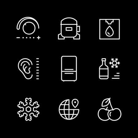 Set line icons of fridge